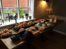 The breakfast spread at the hotel was amazing!