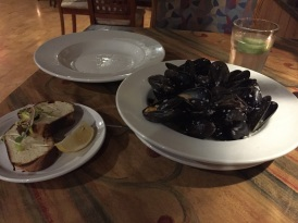 The Wooden Monkey in Dartmouth, Nova Scotia. Mussels in white wine and garlic.